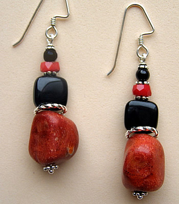 Red and black and silver earrings